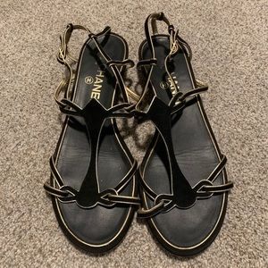 Black CHANEL Sandals with Gold Trim. Sz 38.5